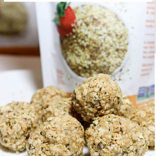 peanut butter energy balls with chocolate chips and hemp